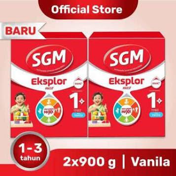 SGM Eksplor Aktif 1+ Pro-GressMaxx Vanila Susu Formula [900 g] - 2 Pcs