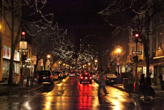 Holiday white lights on Market Street