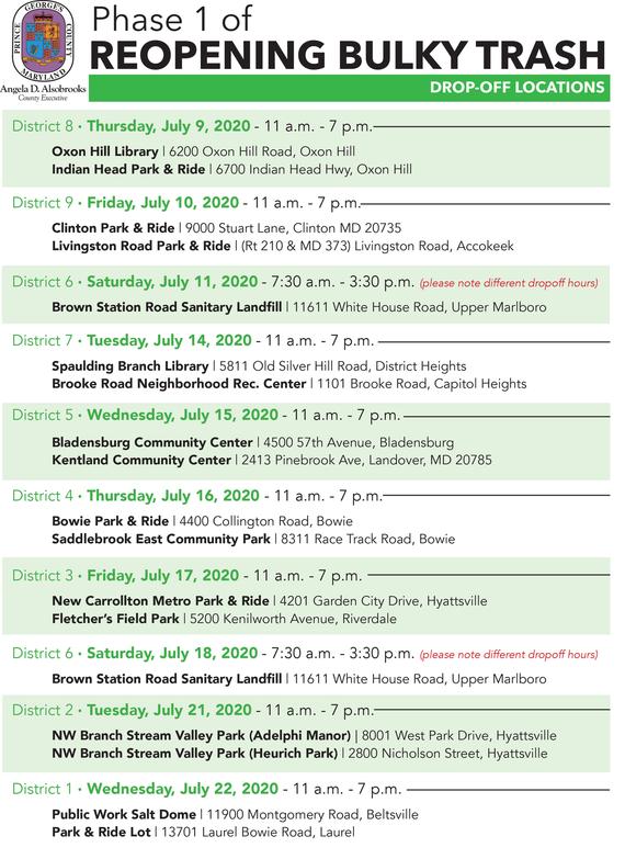 Bulky Trash Locations July 9-22