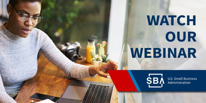 """Woman in front of a computer with the text, """"Watch our Webinar"""""""