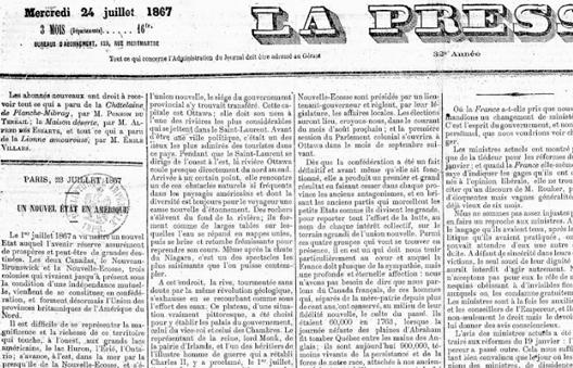 La Presse de 1867 raconte la naissance du Canada
