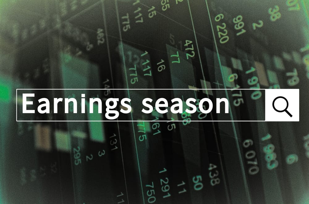 Earnings season on a search bar overlapping stock charts