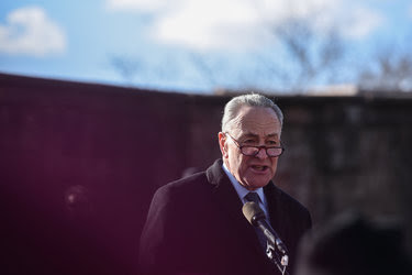 Senator Chuck Schumer addressed protesters on Sunday in Manhattan, tearing up at one point as he called President Trump's refugee ban an affront to democracy.