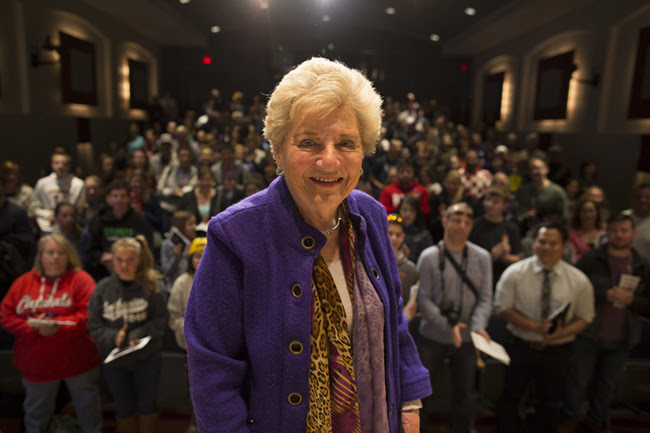 Holocaust survivor Halina Peabody at a <em>First Person</em> program