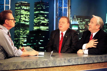 Larry Flynt, center, publisher of Hustler magazine, and the Rev. Jerry Falwell, right, with Larry King on the set of his CNN show in 1996.