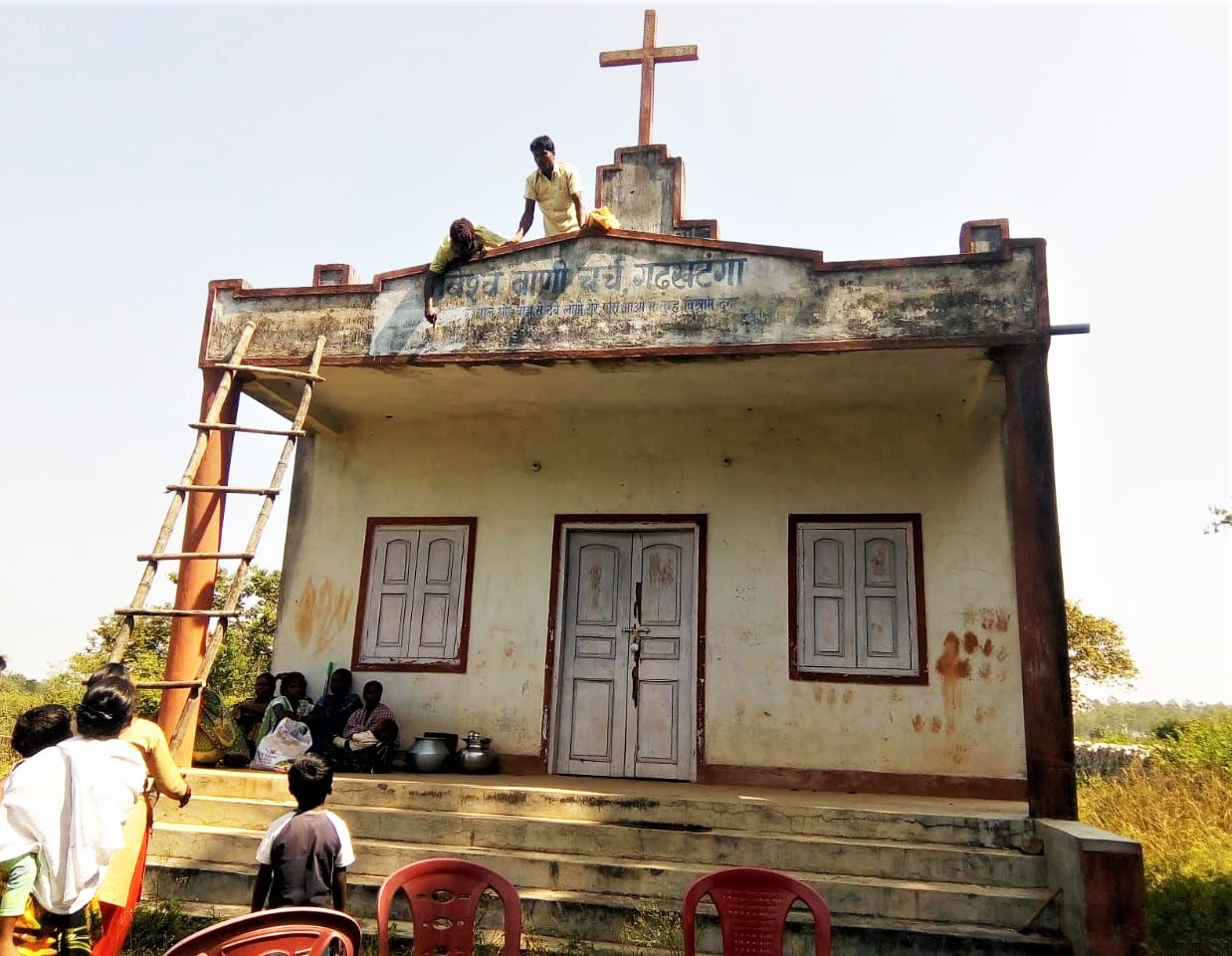 Hindu extremists and tribal animists team up to transform church building into Sarna religion complex in Ranchi District, Jharkhand state, India. (Morning Star News)