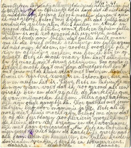Brief van Willem Kaan aan zijn familie