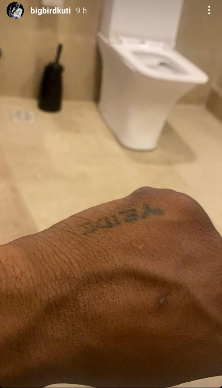 Seun Kuti and his long-term partner, Yeide, get tattoos of each other