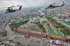 Golden Eagles is flying above the Red Square, Moscow