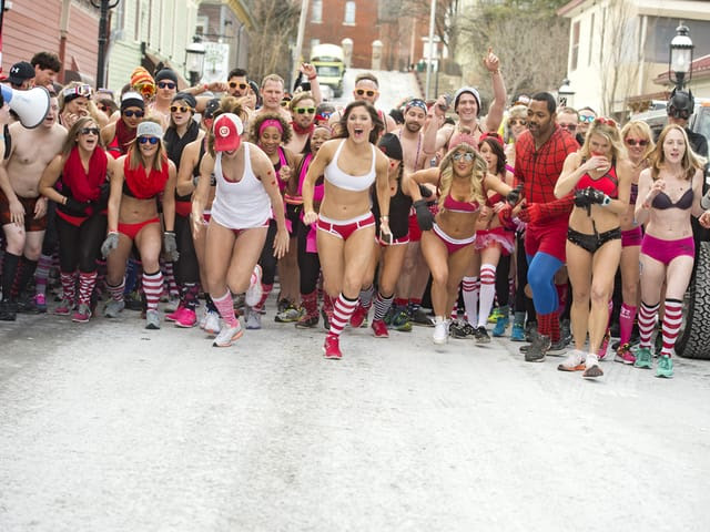 WCPO FEBRUARY 13, 2016 - CUPID'S UNDIE RUN - Cupid's Undie Run kicked off at Mount Adams Pavilion on Feb. 13, 2016, to raise awareness and fund research of neurofibromatosis through the Children's Tumor Foundation. And the race is on! Photo: David Sorcher