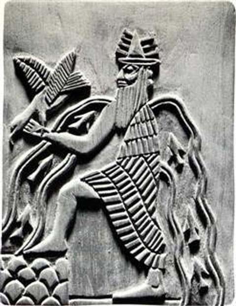 El dios sumerio Enki. Reproducción moderna de un detalle del sello de Adda (c. 2300 a. C.)