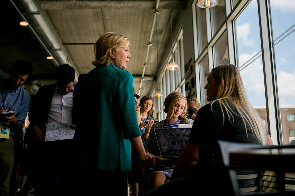 Hillary Clinton at Scenic Route Bakery in Des Moines on Wednesday.
