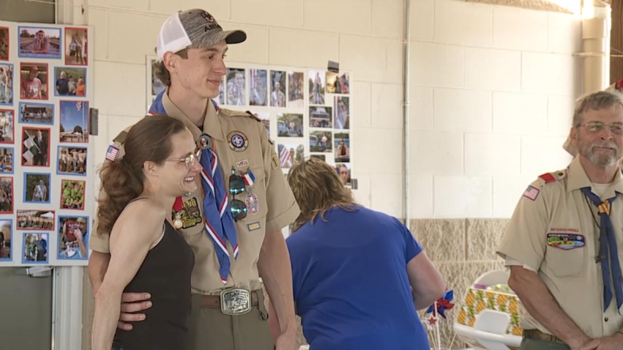 Eagle Scout receiving Heroism Award