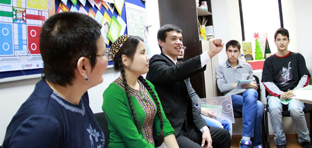 Young outreach workers in Turkmenistan.