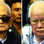 L'ancien bras droit de Pol Pot, Nuon Chea (à gauche) et l'ancien chef de l'Etat Khieu Samphan (à droite) lors de l'annonce de leur condamnation à perpuité maintenue pour crimes contre l'humanité à la Cour Supreème du Cambodge, à Phnom Penh le mercredi 23 novembre. (Crédit : ECCC) Copie d'écran du Phnom Penh Post le 23 novembre 2016.