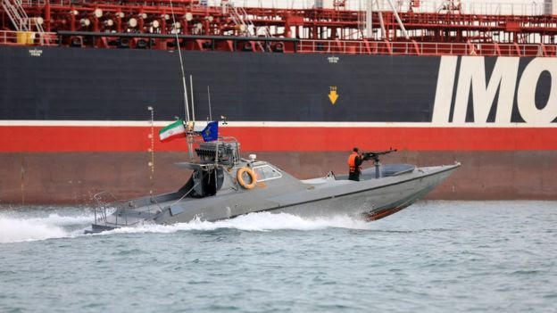 An IRGC patrol boat circling the British flagged Stena Impero which was detained by Iran last year