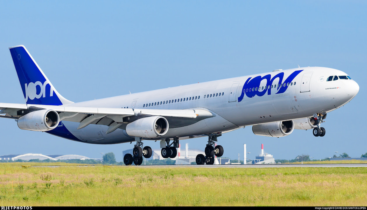 A Joon A340 landing in Paris