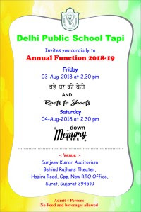 Annual Function Invitation Card 2018 19 Dps Tapi Class 5b