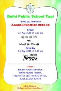 Annual Function Invitation Card 2018 19 Dps Tapi Class 5b