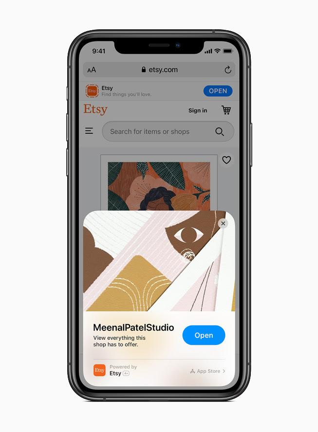 iPhone 11 Pro 上顯示來自 Etsy app 的 App Clip。