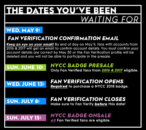 the dates you've been waiting for Wed. May 9: Fan Verification Confirmation Email. Keep an eye on your email! By end of day on May 9, fans with accounts from 2016 & 2017 will get an email to confirm account details. You must confirm your account details are correct by May 30 or the Fan Verification profile will be deleted and you will not be able to participate in the presale. Sun. June 10: NYCC Badge Presale. Only Fan Verified fans from 2016 & 2017 eligible. Wed. June 13: Fan Verification Opens. Required to purchase a NYCC 2018 badge. Sun. July 8: Fan Verification closes. Make sure to Fan Verify before this date! Sun. July 15: NYCC Badge Onsale. All Fan Verified fans are eligible.