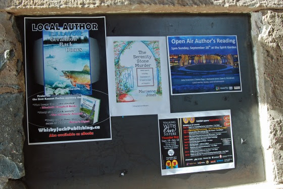 Spotted in Thunder Bay, Ontario: Book launch and reading posters featuring Northwestern Ontario writers.  Well-designed digital and traditional posters can work together to help publicize an upcoming event.