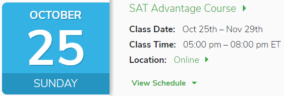 Oct 2th SAT Advantage Course