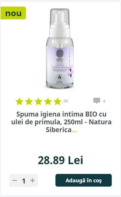 Spuma igiena intima BIO cu ulei de primula, 250ml - Natura Siberica