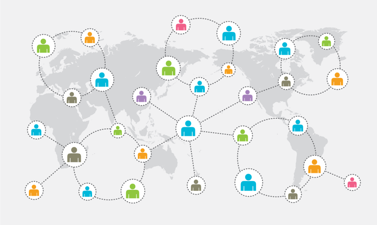 People collaborating around the globe