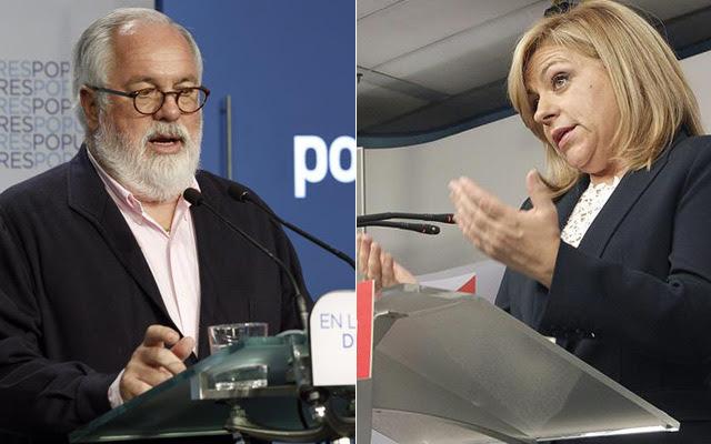 Cañete y Valenciano, durante sus respectivas ruedas de prensa tras la debacle. Alberto Martín / Zipi / EFE