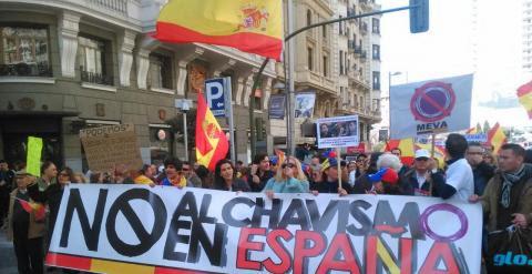 Manifestación convocada por el Movimiento español venezolano antipodemos el pasado 1 de marzo en Madrid.- MEVA