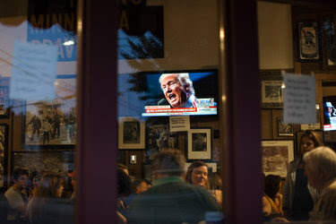 Donald J. Trump on a television in an Atlanta bar last month.