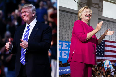 Donald J. Trump campaigning in Sunrise, Fla., and Hillary Clinton in Philadelphia this month.