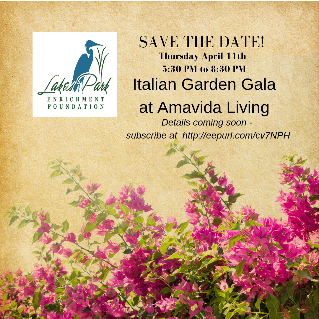 Save the Date April 11th 2019 Italian Garden Gala