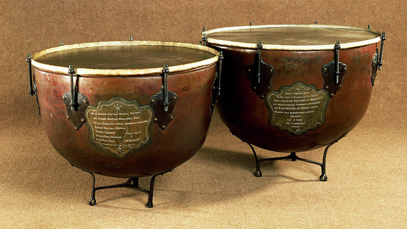 Timpani are also called kettledrums. These instruments crafted by Antonio Stradivari were, for a time, more kettles than drums.
