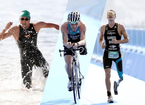 O desafio de triatlo é completar a prova, que compreende 750m de natação, 20km de ciclismo e 5km de corrida, no menor tempo possível