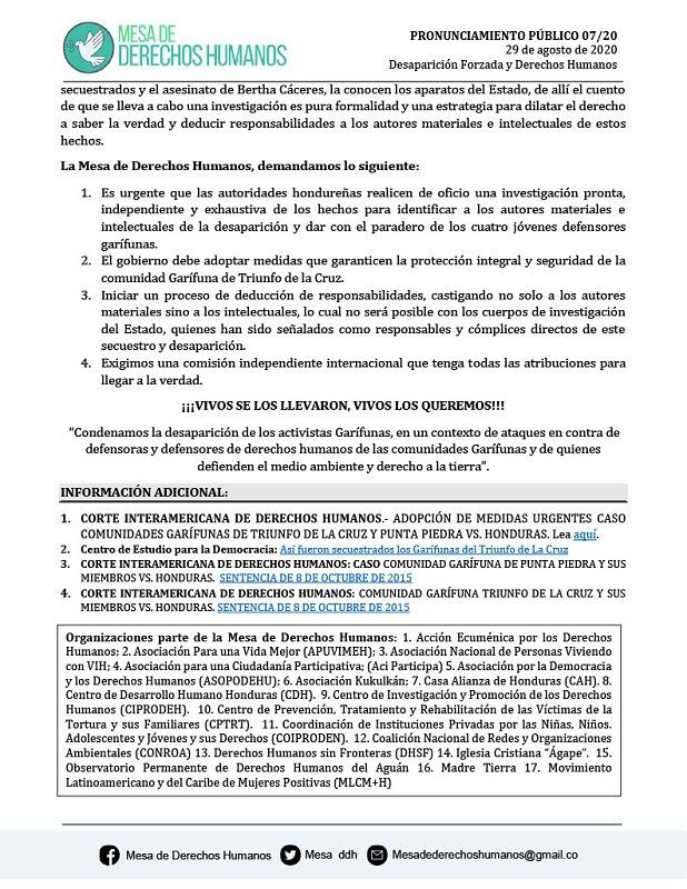 Mesa de DDHH PRONUNCIAMIENTO PUBLICO 07 201024 2