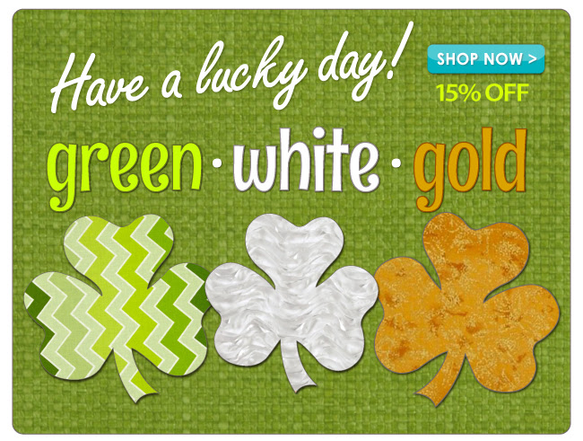 15% off Select Green, White and Gold Fabrics
