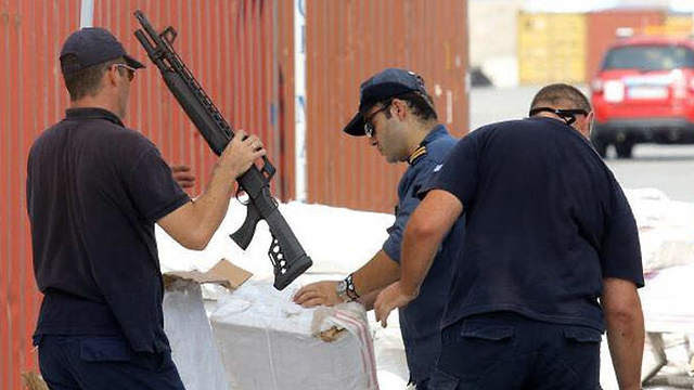 Greek police finds rifles.