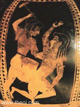 Hình ảnh trên một chiếc bình cổ: Nữ thần Dike (trái) đang đánh thần Adikia - hiện thân của sự bất công. Ảnh: theoi.com.