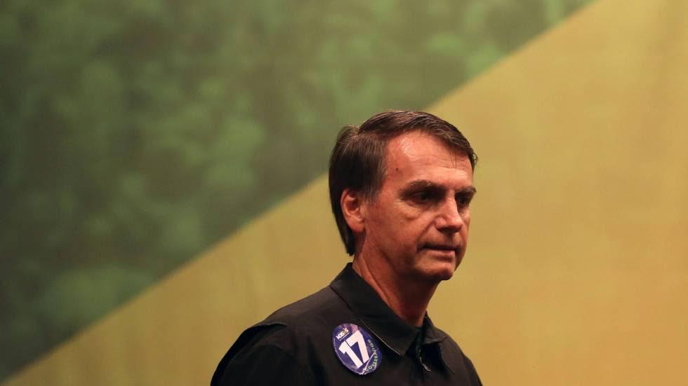 El candidato ultraderechista del partido PSL a la presidencia de Brasil, Jair Bolsonaro, el pasado 11 de octubre de 2018, en Río de Janeiro (Brasil).