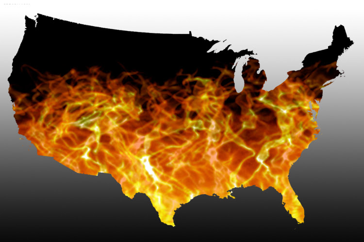 A map where America is in flames