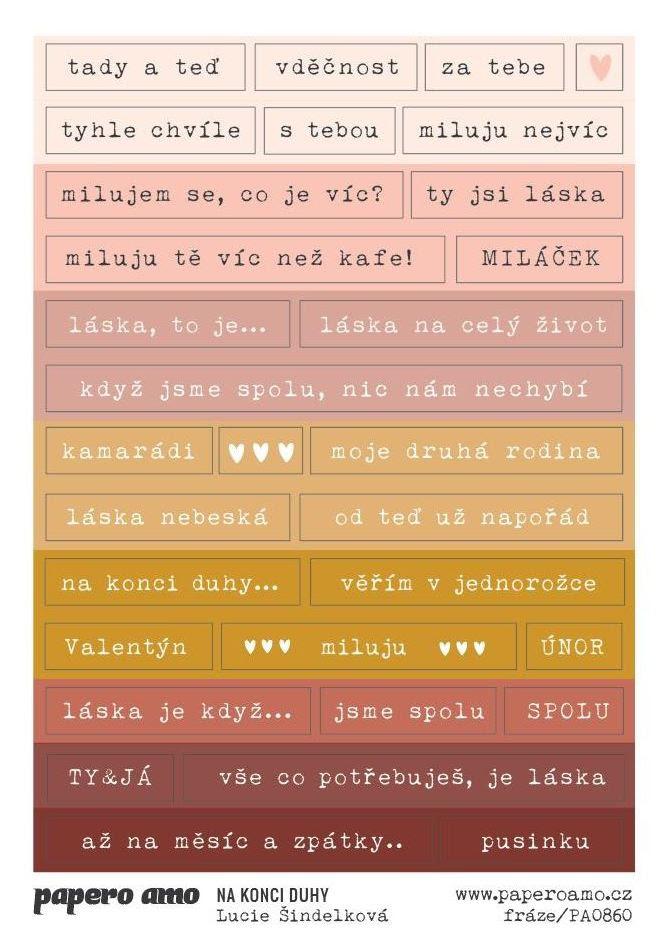 PAPERO AMO ♥ Papírové samolepky - NA KONCI DUHY / FRÁZE