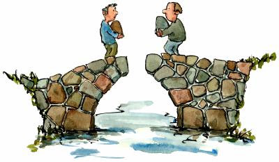 Two men on an unfinished stone bridge, each holding what could be the final stone