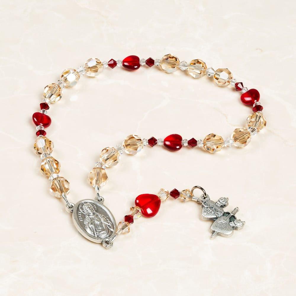 Swarovski Crystal Sacred & Immaculate Heart Chaplet