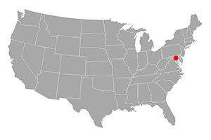Map of US with location of Towson indicated.