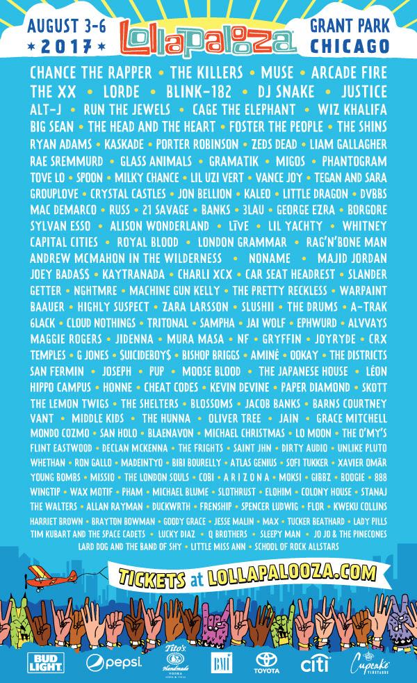 2017 Lollapalooza Lineup