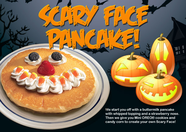 Scary Face Pancake!  We start you off with a buttermilk pancake with whipped topping and a strawberry nose.  Then we give you Mini OREO® cookies and candy corn to create your own Scary Face!