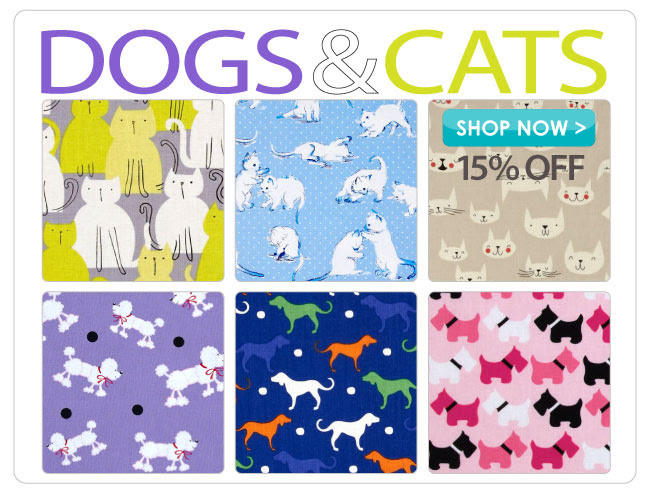 15% off all Dog and Cat Cotton Prints