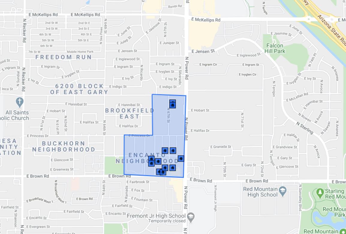 1228 N 67th St Mesa, AZ 85205 comps map